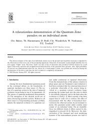 A relaxationless demonstration of the Quantum Zeno paradox on an ...