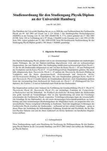 Neue Studienordnung - Fachbereich Physik - Universität Hamburg