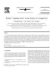 Robust ''trapping states' - Fachbereich Physik - Universität Hamburg