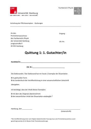 Quittungen - Fachbereich Physik - Universität Hamburg