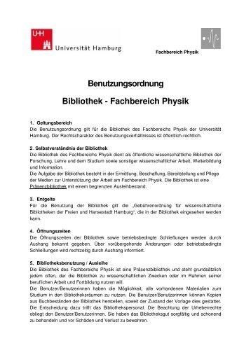 Benutzungsordnung - Fachbereich Physik - Universität Hamburg