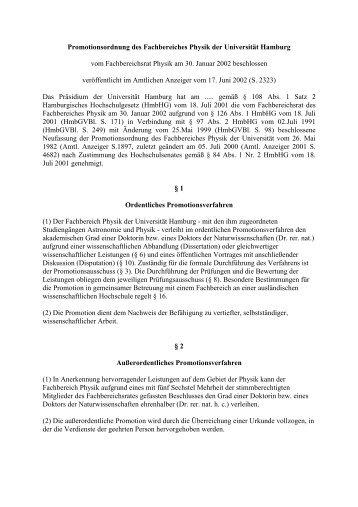 Promotionsordnung vom 17.06.2002 - Fachbereich Physik ...