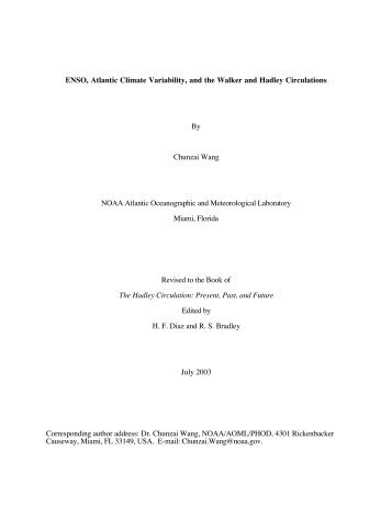 ENSO, Atlantic Climate Variability, and the Walker and Hadley ...