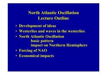North Atlantic Oscillation Lecture Outline