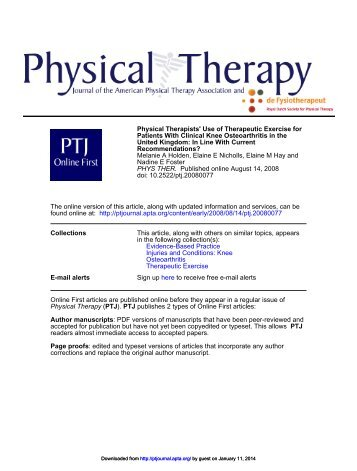 Physical Therapists' Use of Therapeutic Exercise for Patients With ...