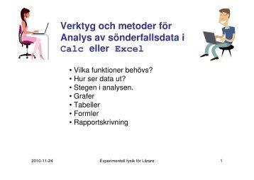 Verktyg och metoder för Analys av sönderfallsdata i Calc eller Excel