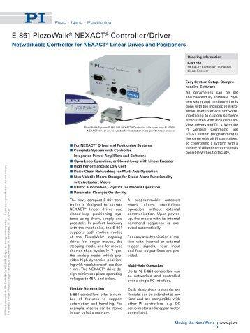 E861 Closed-Loop Piezo Control Electronics for Precision ...