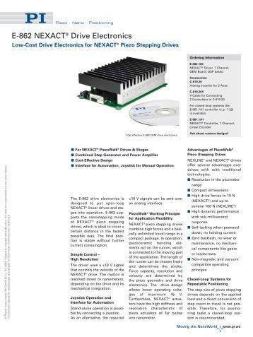 E862 NEXACT® PiezoMotor Driver Electronics Closed-Loop Piezo ...
