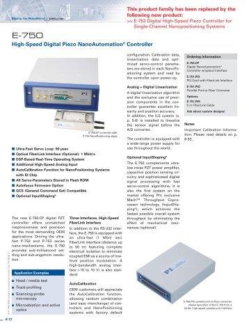 E750 High-Speed Digital Piezo NanoAutomation® Controller ...
