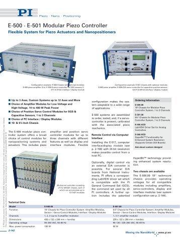 E500, E501 Modular Piezo Controller Rack, Piezo System; High ...