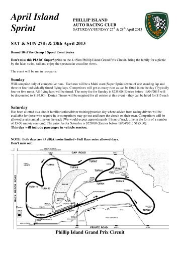 2013 April Sprint Regs.pdf - Phillip Island Auto Racing Club