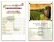 WINE AND SPIRITS TABLE OF CONTENTS - Piazza Sorrento