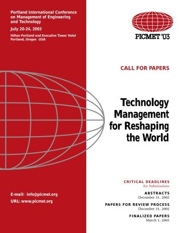 Technology Management for Reshaping the World - PICMET ...