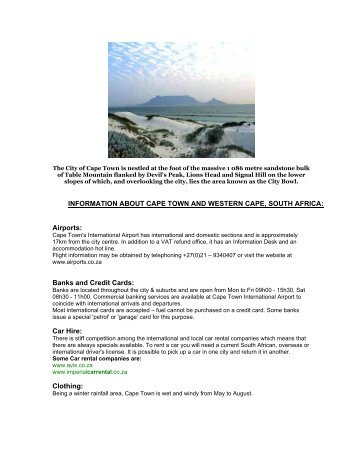 INFORMATION ABOUT CAPE TOWN AND WESTERN CAPE ...