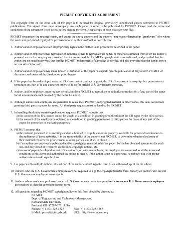 Copyright Form (PDF) - PICMET Conference