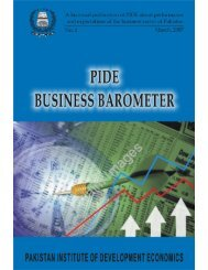 PIDE Business Barometer, No. 1, March, 2007 - Pakistan Institute of ...