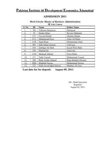 August 09, 2011. - Pakistan Institute of Development Economics