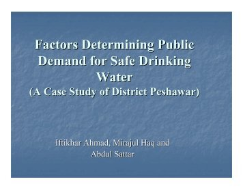 (A Case Study of District Peshawar) - Pakistan Institute of ...