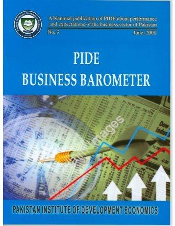 PIDE Business Barometer, No. 3, June, 2008 - Pakistan Institute of ...