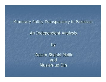 Monetary Policy Transparency in Pakistan - Pakistan Institute of ...