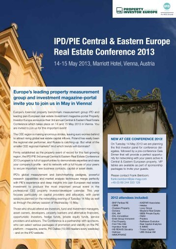 IPD/PIE Central & Eastern Europe Real Estate Conference 2013