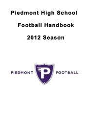 Piedmont High School Football Handbook 2012 Season