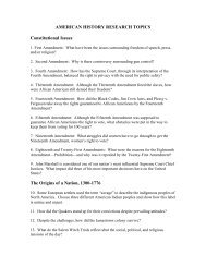 AMERICAN HISTORY RESEARCH TOPICS Constitutional Issues The