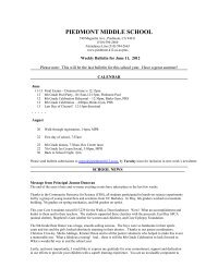 PIEDMONT MIDDLE SCHOOL - Piedmont Unified School District