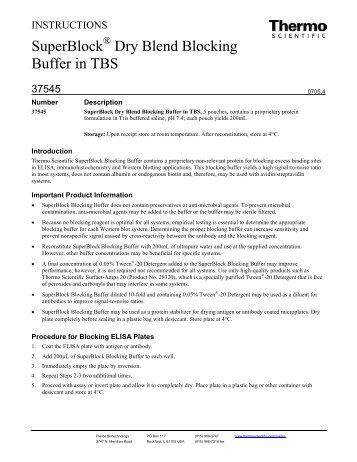 SuperBlock Dry Blend Blocking Buffer in TBS - Pierce