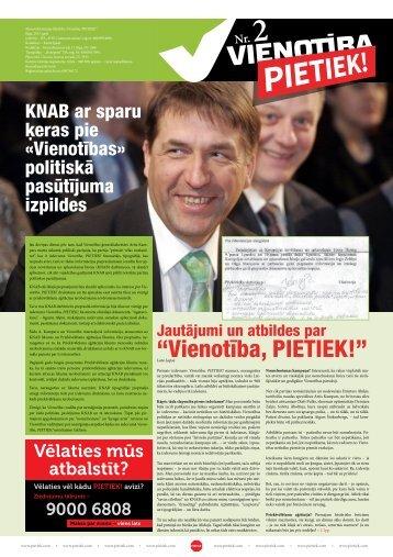 """""""Vienotība, PIETIEK!"""" - Pietiek.com"""