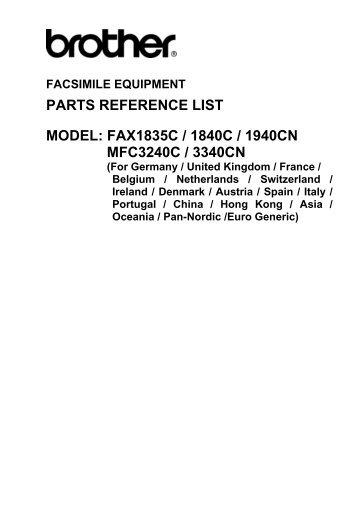 parts reference list model: fax1835c / 1840c ... - Piezas y Partes