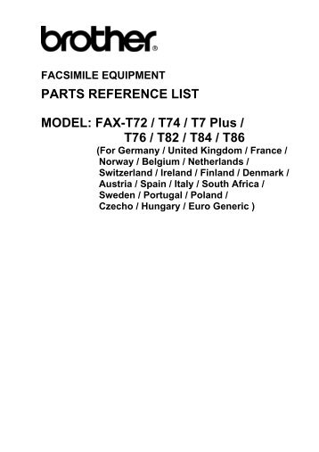 Part reference list for T7 series - Piezas y Partes