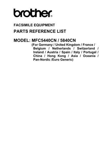 parts reference list model: mfc5440cn / 5840cn - Piezas y Partes