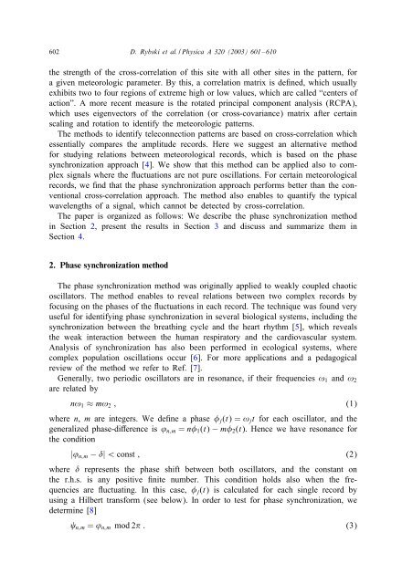 Phase synchronization in temperature and ... - Shlomo Havlin