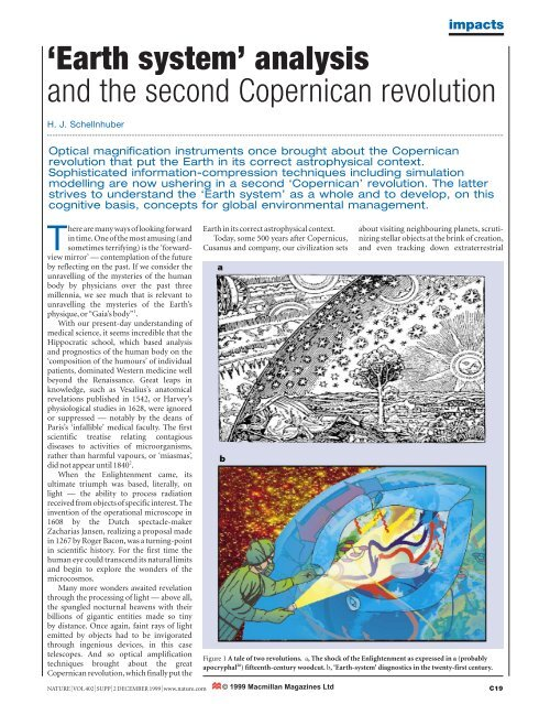 Earth system' analysis and the second Copernican revolution