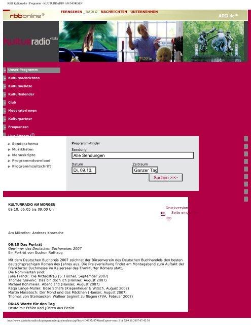 KULTURRADIO AM MORGEN - Potsdam-Institut für ...