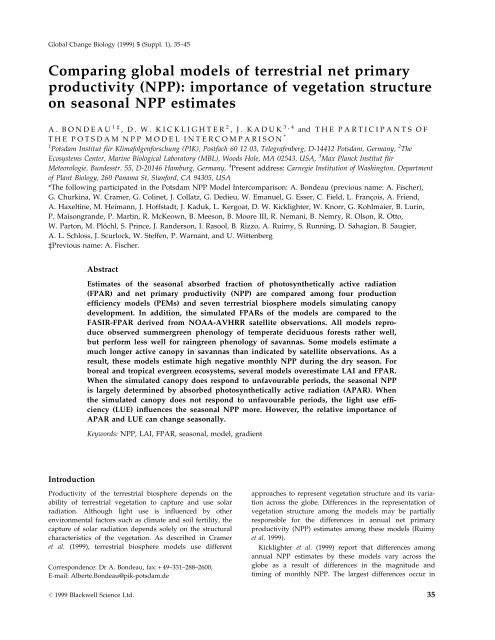 Comparing global models of terrestrial net primary productivity (NPP ...