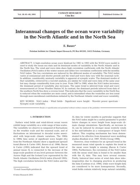 Interannual changes of the ocean wave variability in the North ...