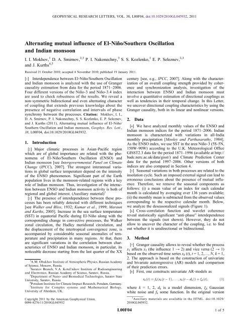 Alternating mutual influence of El‐Niño/Southern Oscillation and ...