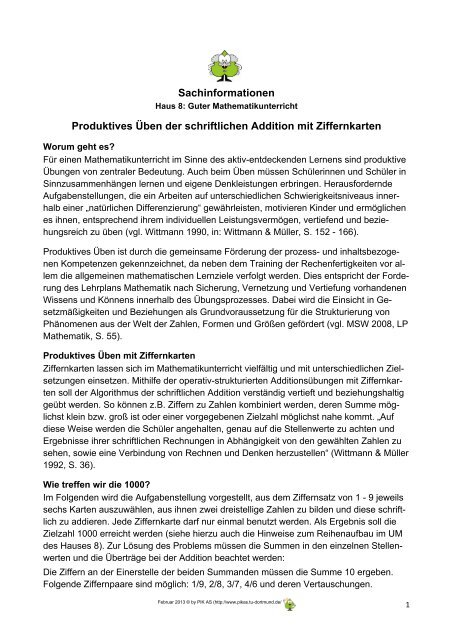Sachinformation_Produktives Ueben mit Ziffernkarten - PIK AS - TU ...