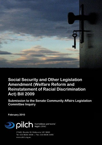 Social Security and Other Legislation Amendment (Welfare ... - pilch