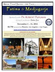 Fatima & Medjugorje - 206 Tours