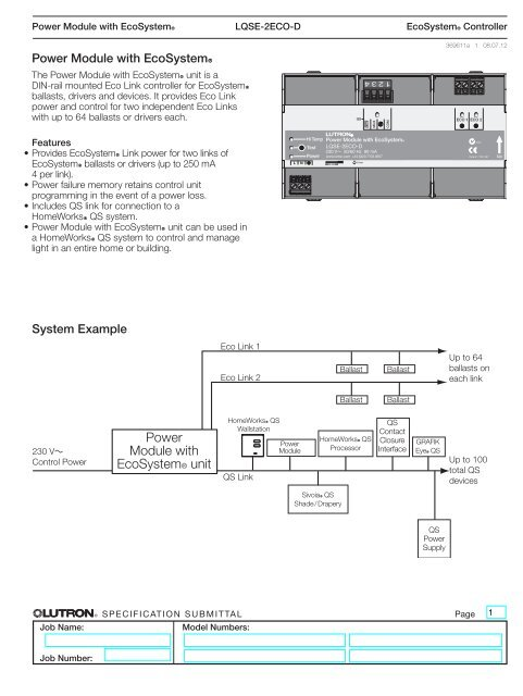 lutron ecosystem ballast wiring diagram power module with ecosystem spec submittal 369611a pilote films  power module with ecosystem spec