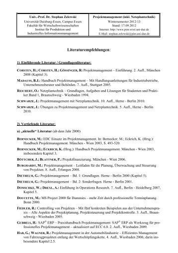 Literaturempfehlungen: - Institut für Produktion und Industrielles ...
