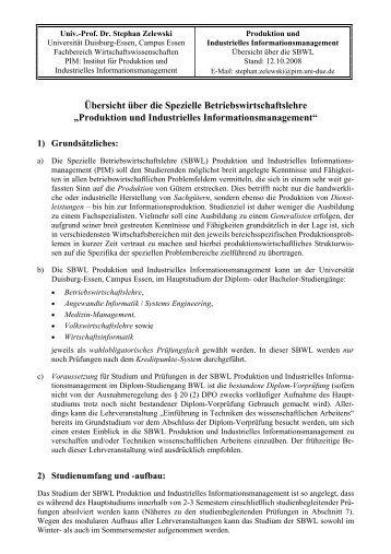 Übersicht über die Spezielle Betriebswirtschaftslehre - Institut für ...