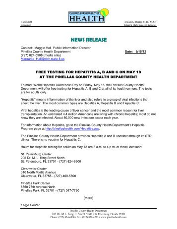 INTEROFFICE MEMORANDUM - Pinellas County Health Department