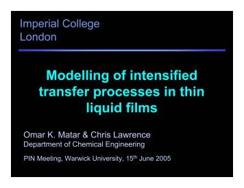 Modelling of intensified transfer processes in thin liquid films - Omar ...
