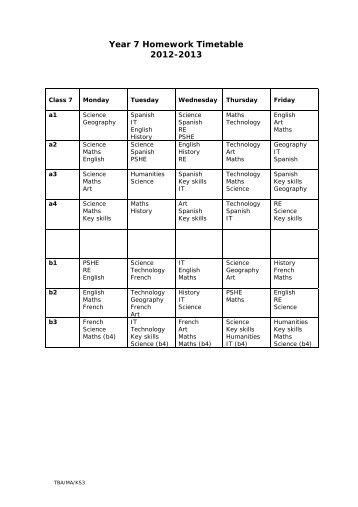 year 7 homework