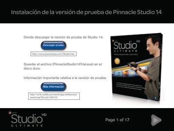 Instalación de la versión de prueba de Pinnacle Studio 14