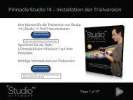 Pinnacle Studio 14 – Installation der Trialversion